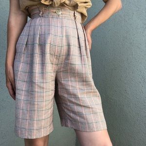 [vintage] ultra high waist plaid long shorts